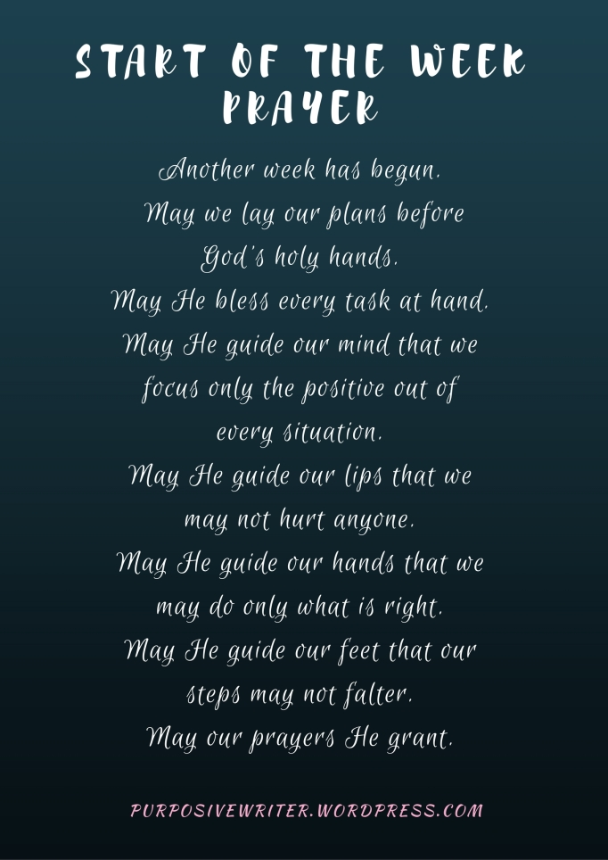 start of the week prayer